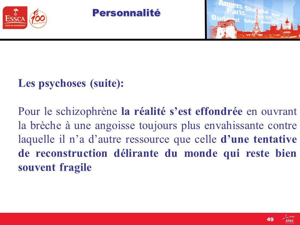 Les psychoses (suite):
