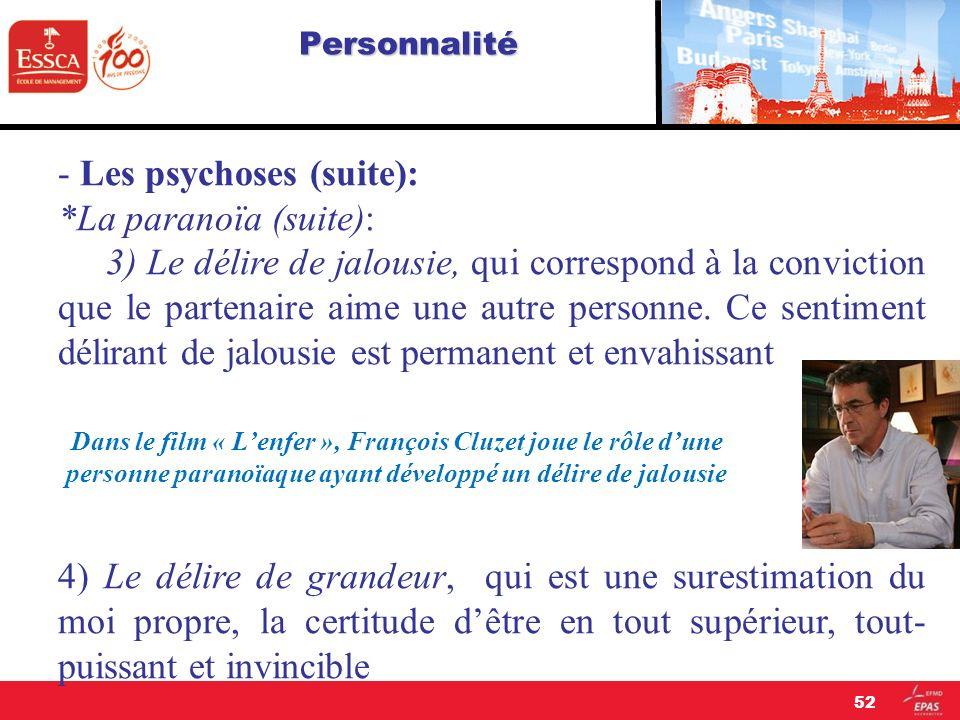 - Les psychoses (suite): *La paranoïa (suite):