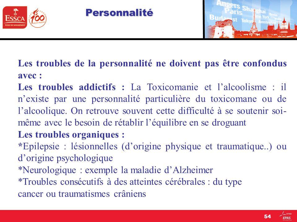 Personnalité Les troubles de la personnalité ne doivent pas être confondus avec :