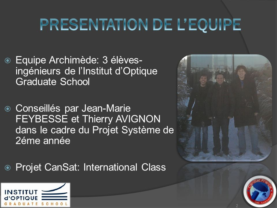 PRESENTATION DE L'EQUIPE