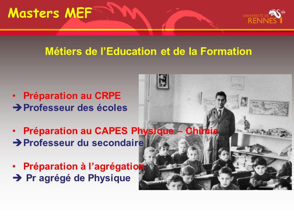 Masters MEF Métiers de l'Education et de la Formation