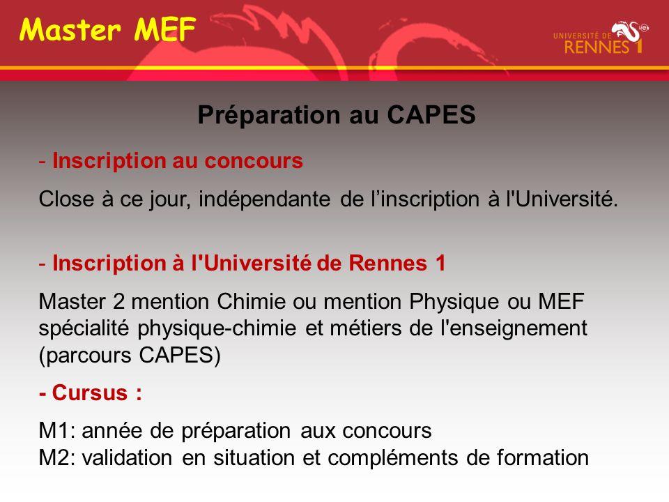 Master MEF Préparation au CAPES Inscription au concours