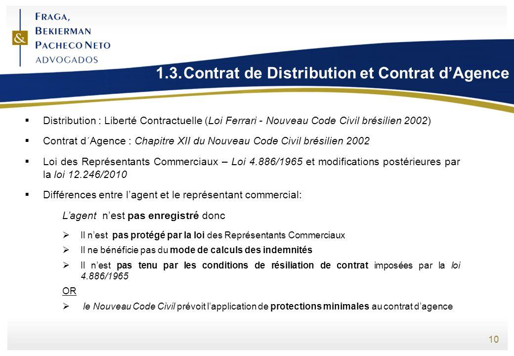 1.3. Contrat de Distribution et Contrat d'Agence