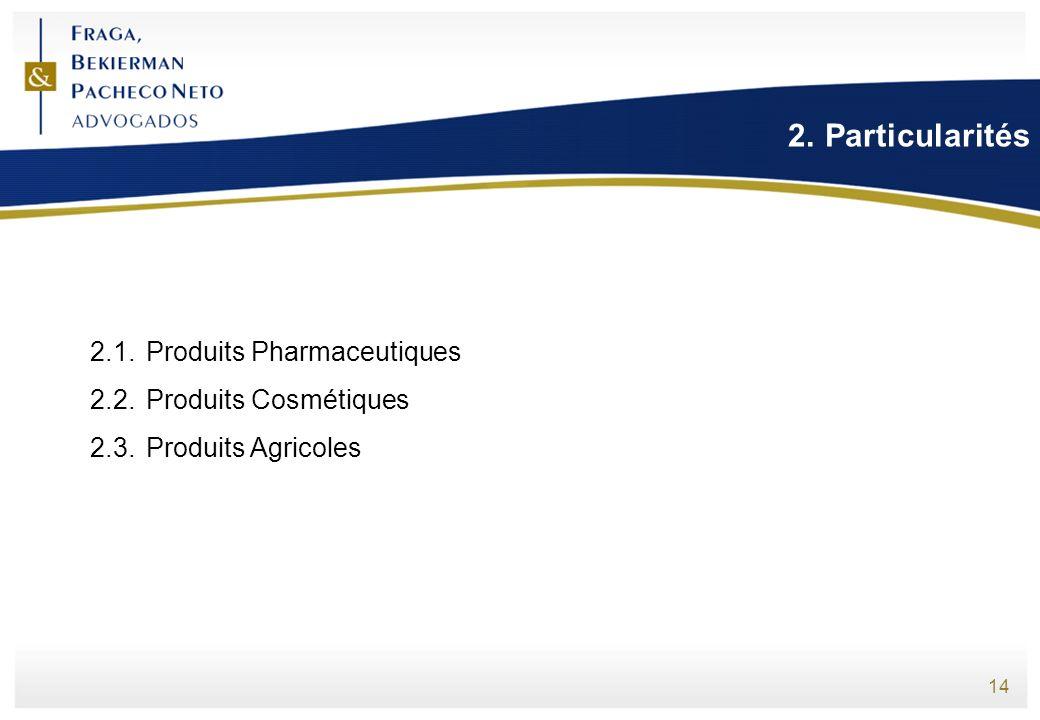 Particularités 2.1. Produits Pharmaceutiques 2.2. Produits Cosmétiques