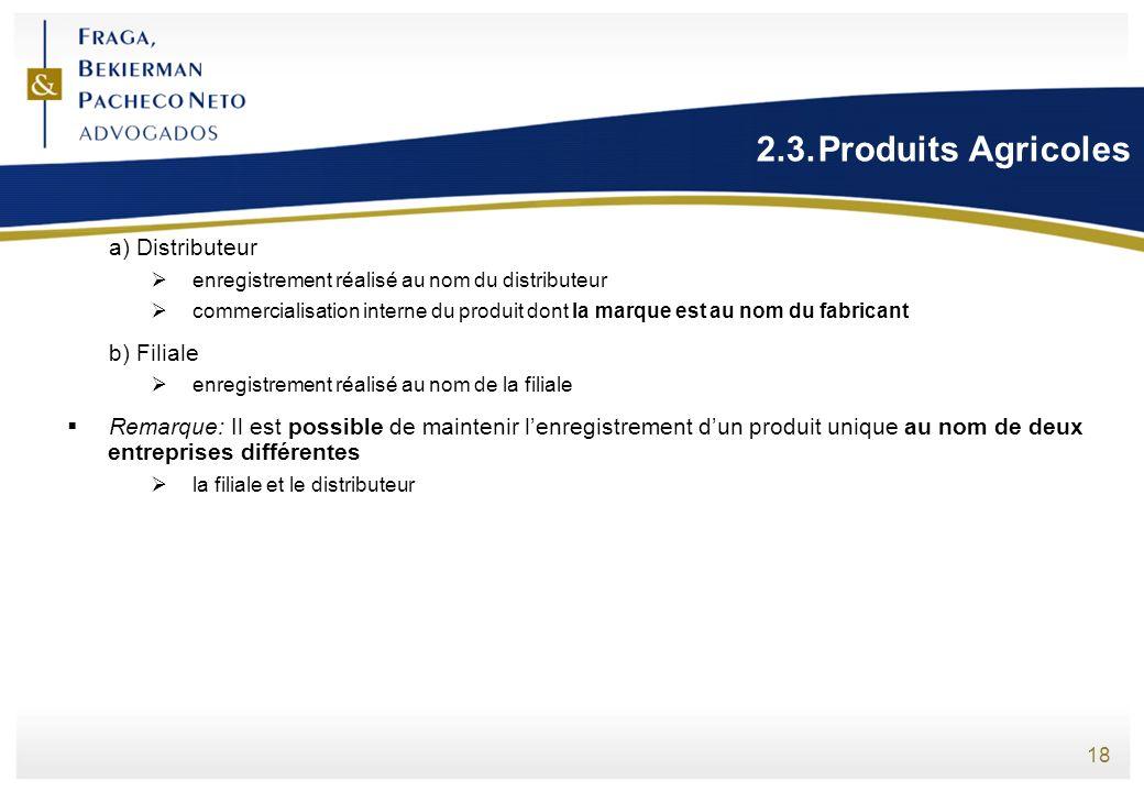 2.3. Produits Agricoles a) Distributeur b) Filiale