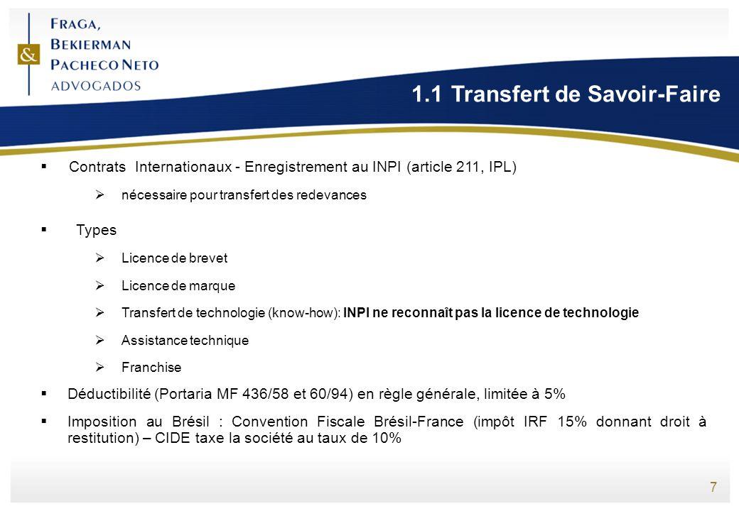 1.1 Transfert de Savoir-Faire