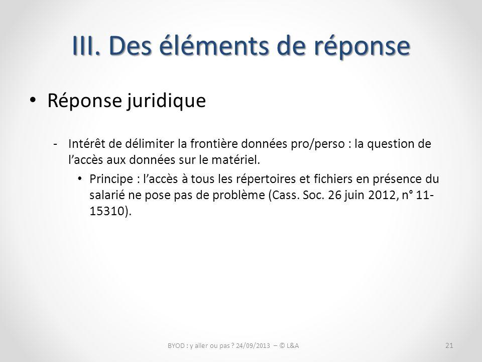 III. Des éléments de réponse