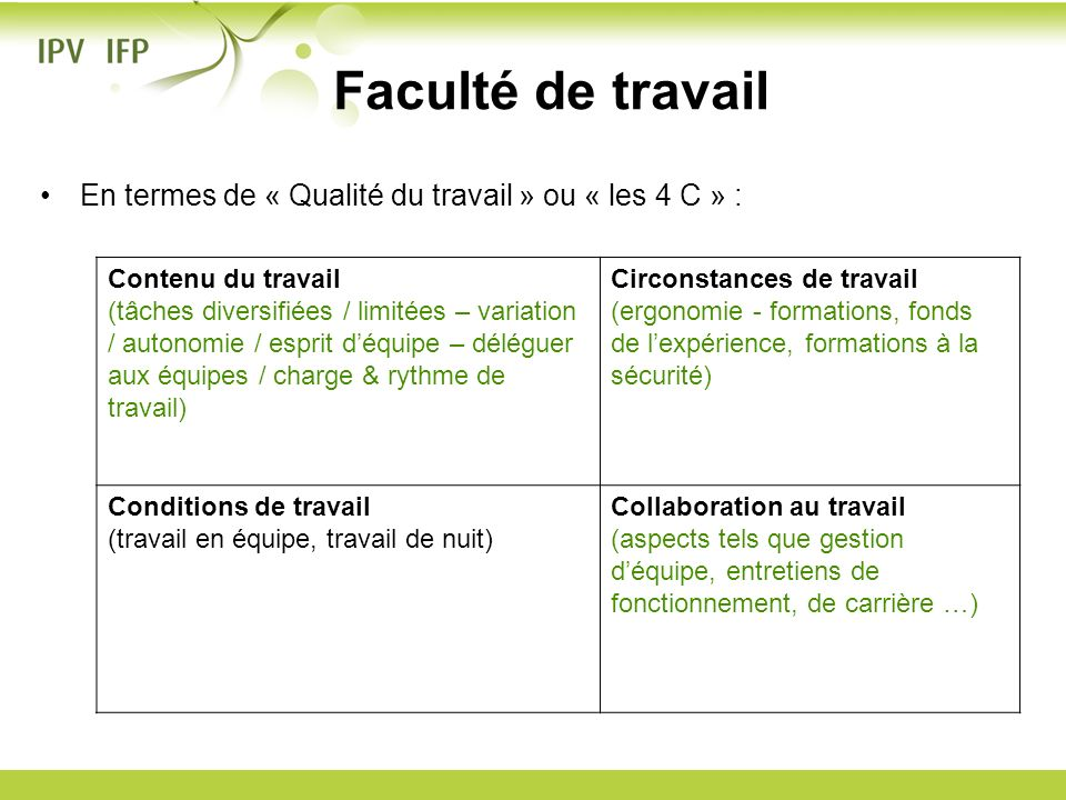 Faculté de travail En termes de « Qualité du travail » ou « les 4 C » : Contenu du travail.