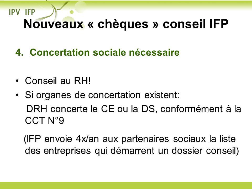Nouveaux « chèques » conseil IFP