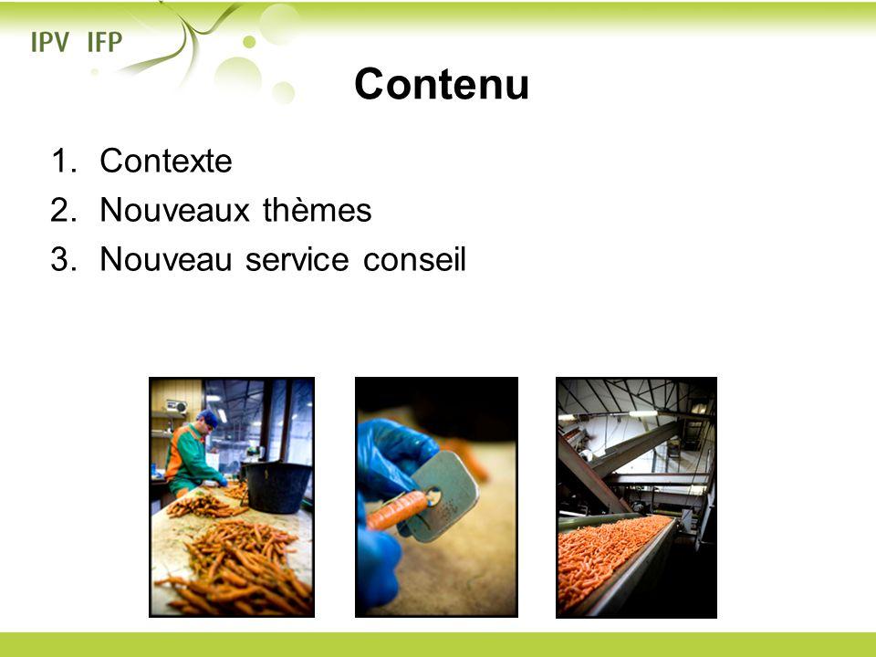 Contenu Contexte Nouveaux thèmes Nouveau service conseil