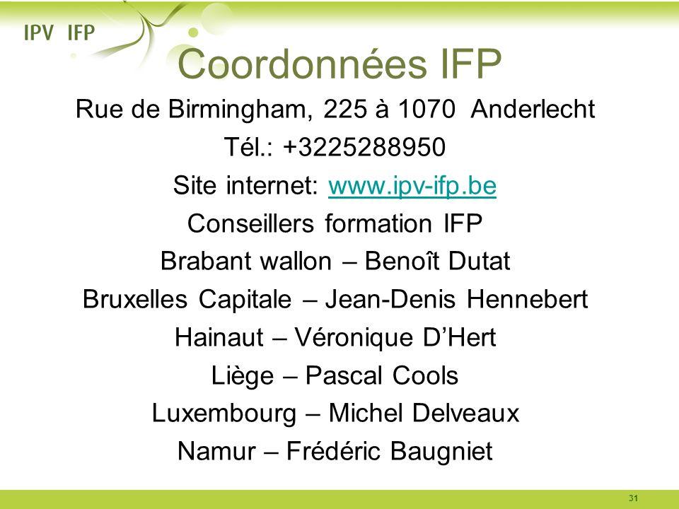 Coordonnées IFP Rue de Birmingham, 225 à 1070 Anderlecht