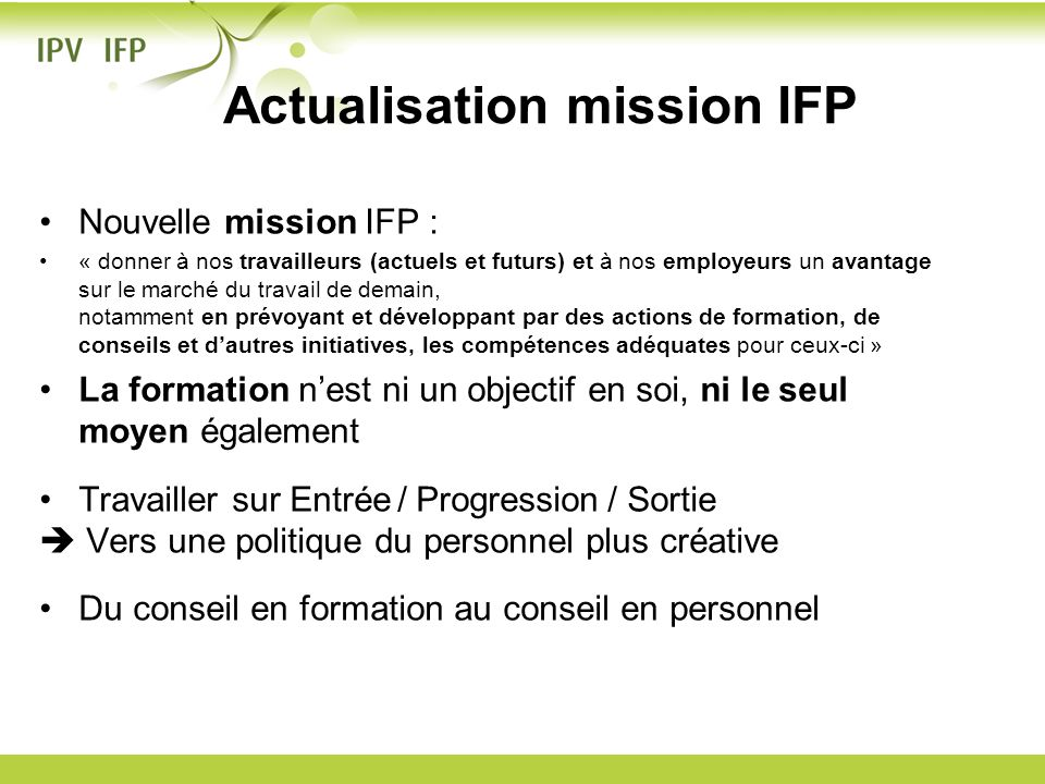 Actualisation mission IFP