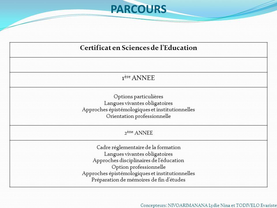 Certificat en Sciences de l'Education