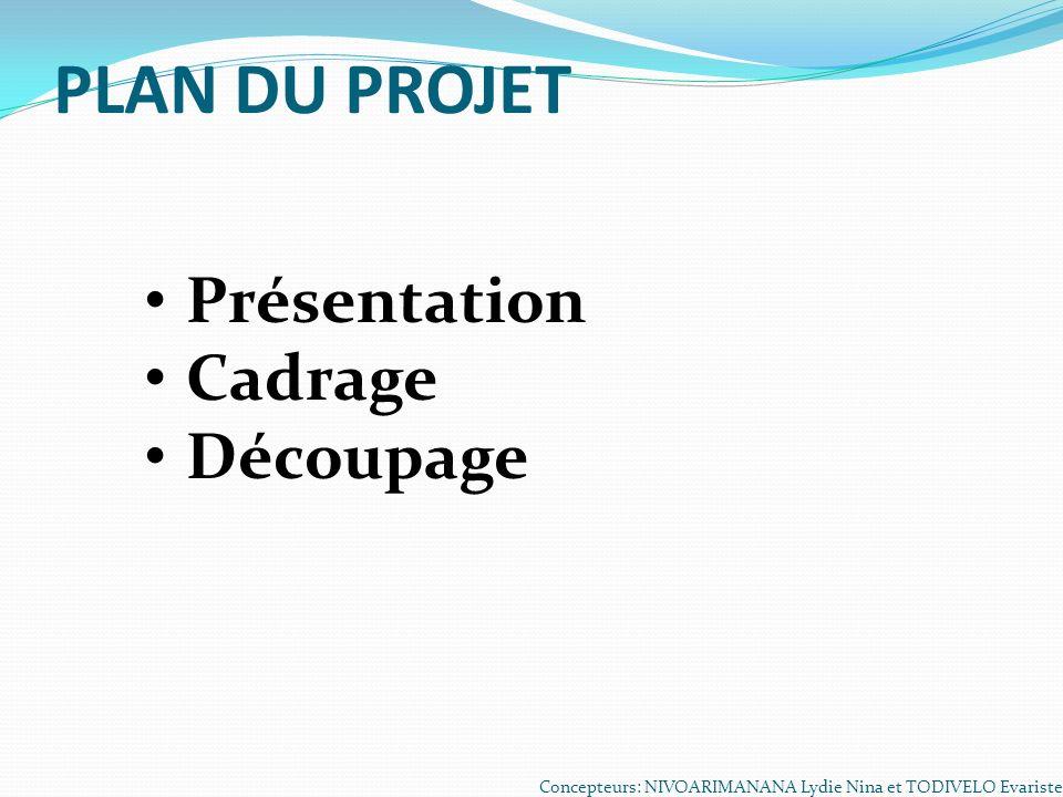 PLAN DU PROJET Présentation Cadrage Découpage