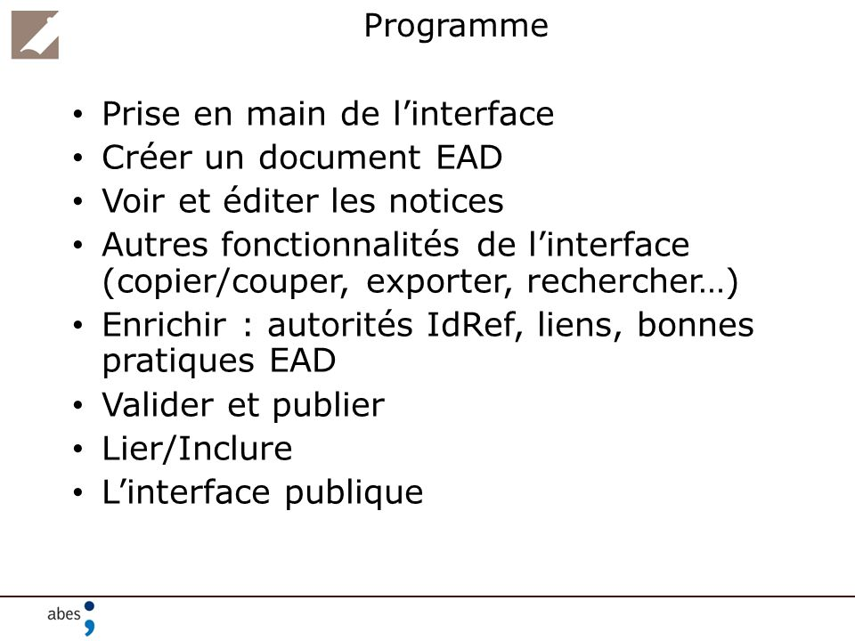 Prise en main de l'interface Créer un document EAD