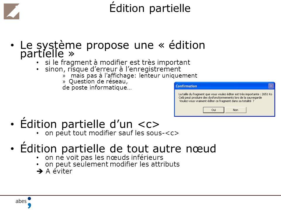 Le système propose une « édition partielle »