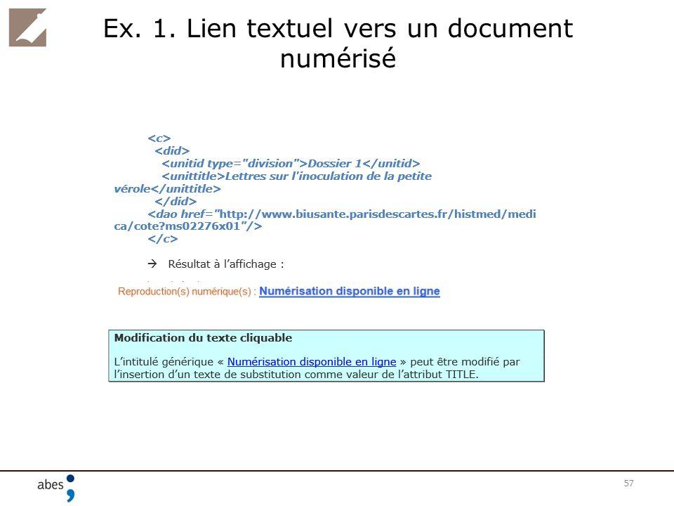 Ex. 1. Lien textuel vers un document numérisé