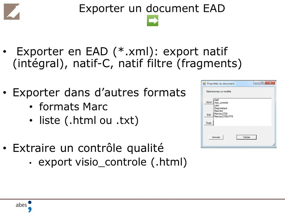 Exporter un document EAD