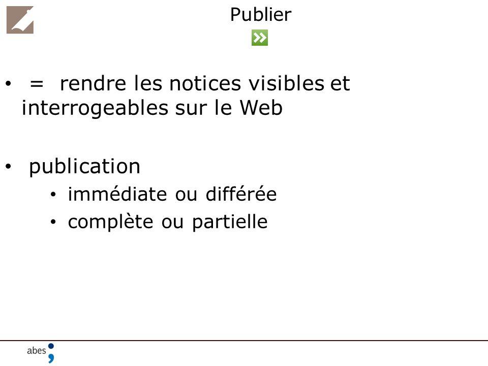 = rendre les notices visibles et interrogeables sur le Web