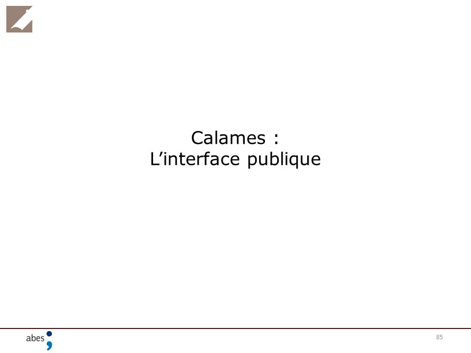 Calames : L'interface publique