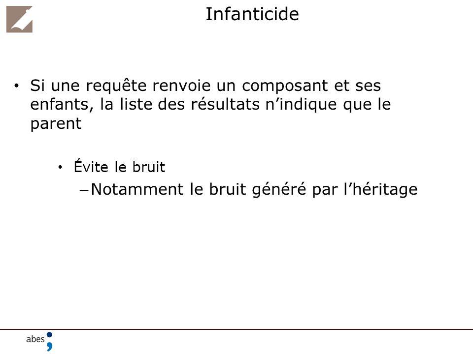 Infanticide Si une requête renvoie un composant et ses enfants, la liste des résultats n'indique que le parent.
