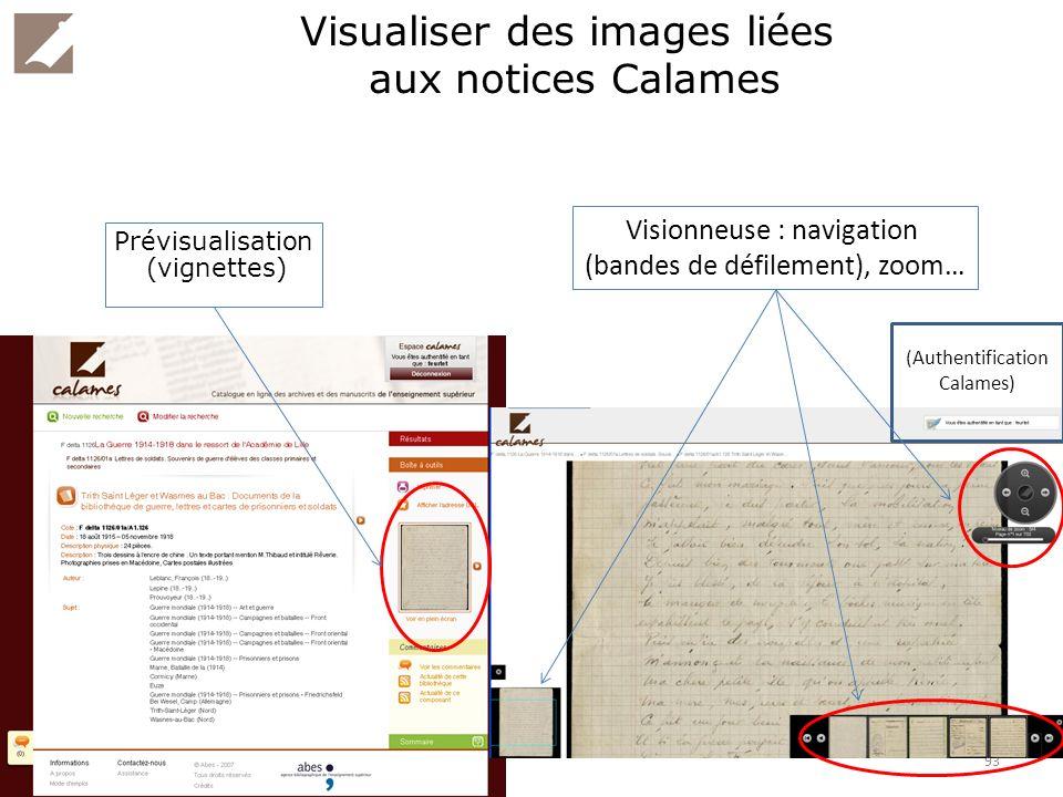 Visualiser des images liées aux notices Calames