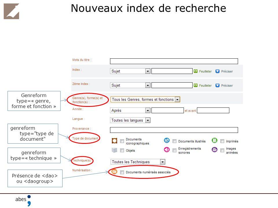 Nouveaux index de recherche