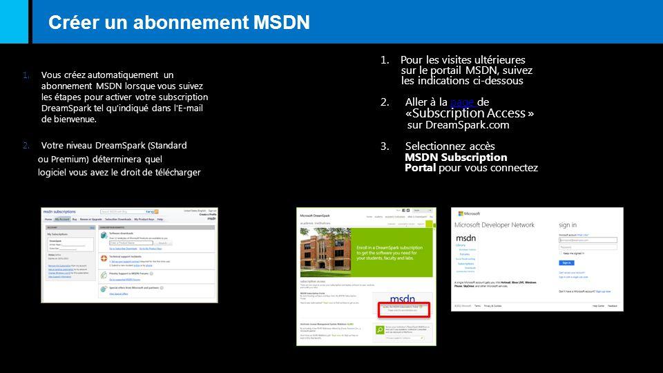 Créer un abonnement MSDN