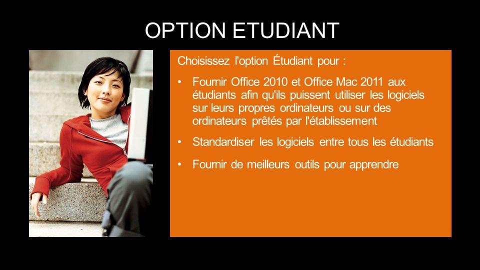 OPTION ETUDIANT Choisissez l option Étudiant pour :