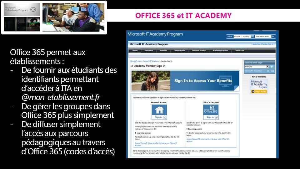 Office 365 permet aux établissements :