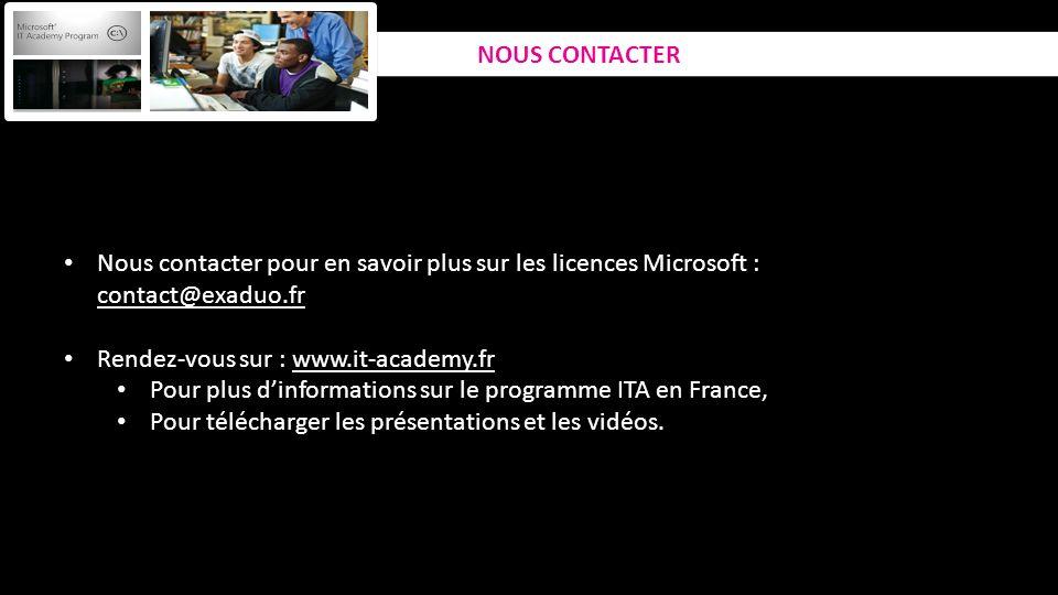 NOUS CONTACTER Nous contacter pour en savoir plus sur les licences Microsoft : contact@exaduo.fr. Rendez-vous sur : www.it-academy.fr.