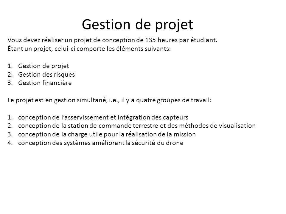 Gestion de projet Vous devez réaliser un projet de conception de 135 heures par étudiant. Étant un projet, celui-ci comporte les éléments suivants: