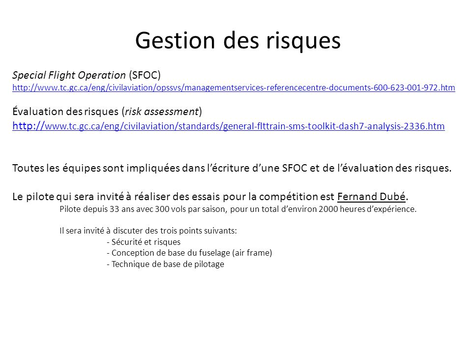 Gestion des risques Special Flight Operation (SFOC)