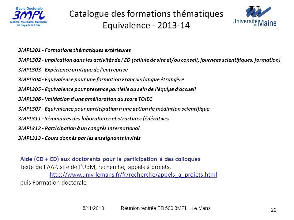 Catalogue des formations thématiques Equivalence - 2013-14