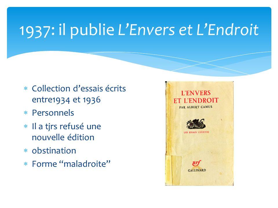 1937: il publie L'Envers et L'Endroit