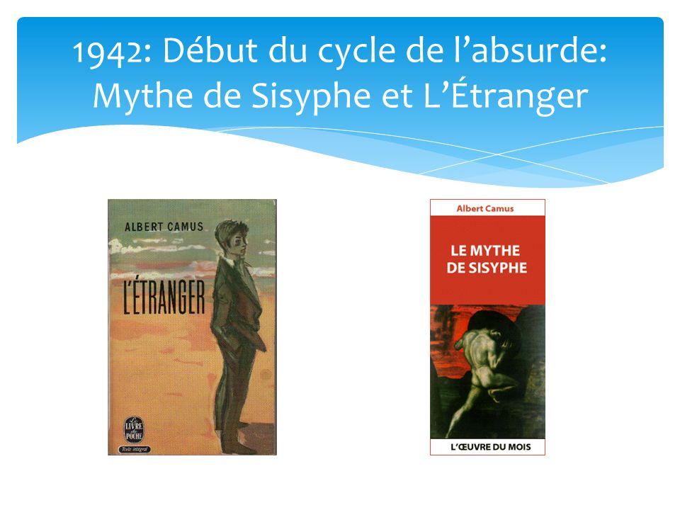 1942: Début du cycle de l'absurde: Mythe de Sisyphe et L'Étranger