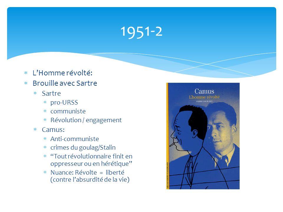 1951-2 L'Homme révolté: Brouille avec Sartre Sartre Camus: pro-URSS