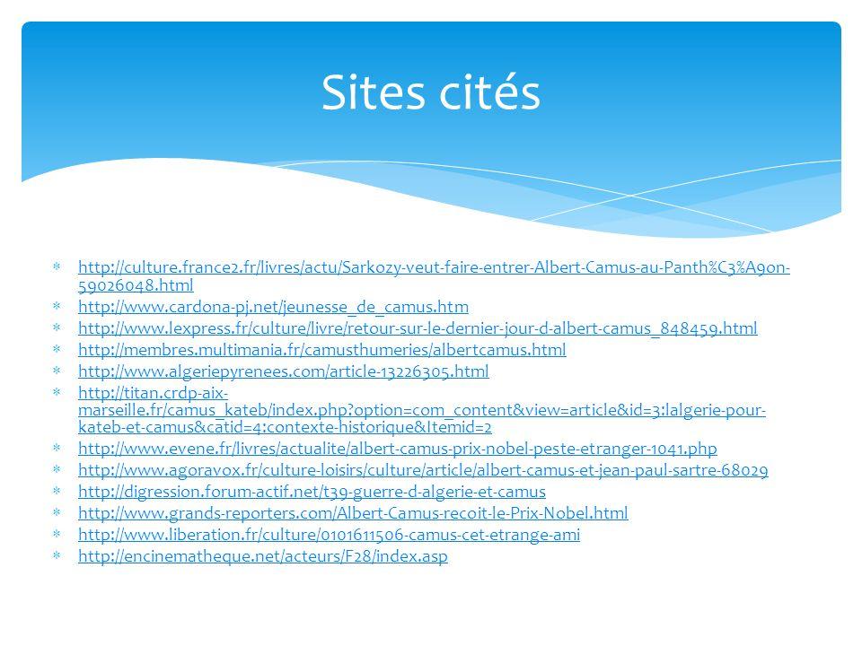 Sites cités http://culture.france2.fr/livres/actu/Sarkozy-veut-faire-entrer-Albert-Camus-au-Panth%C3%A9on-59026048.html.