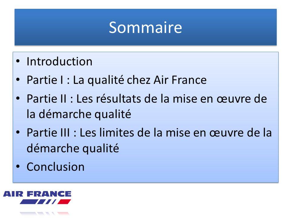 Sommaire Introduction Partie I : La qualité chez Air France