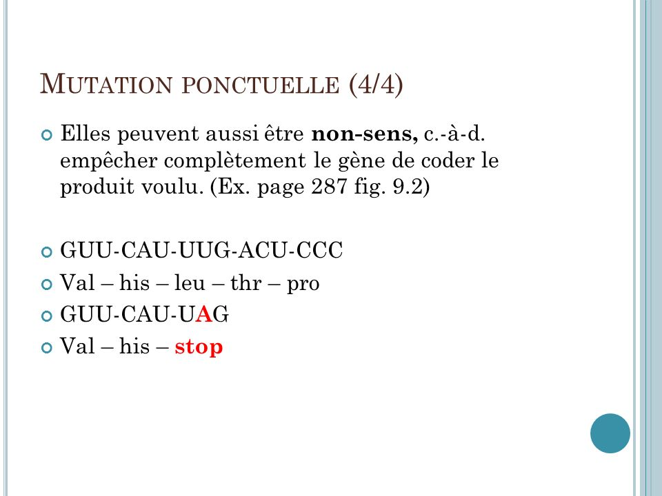 Mutation ponctuelle (4/4)