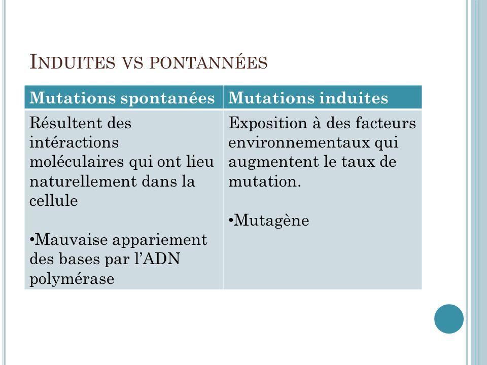 Induites vs pontannées