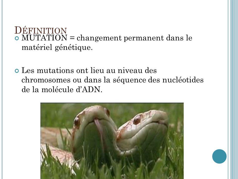 Définition MUTATION = changement permanent dans le matériel génétique.