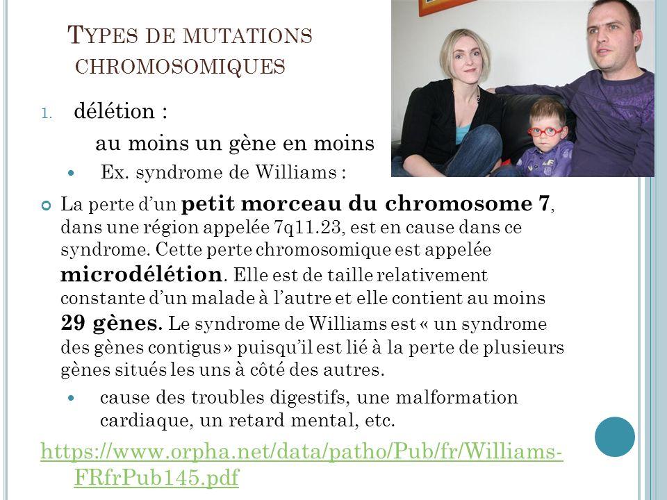 Types de mutations chromosomiques