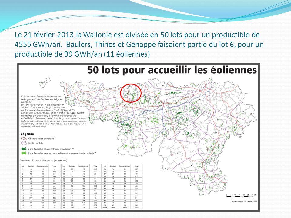 Le 21 février 2013,la Wallonie est divisée en 50 lots pour un productible de 4555 GWh/an.