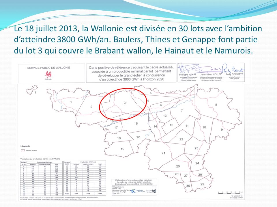 Le 18 juillet 2013, la Wallonie est divisée en 30 lots avec l'ambition d'atteindre 3800 GWh/an.