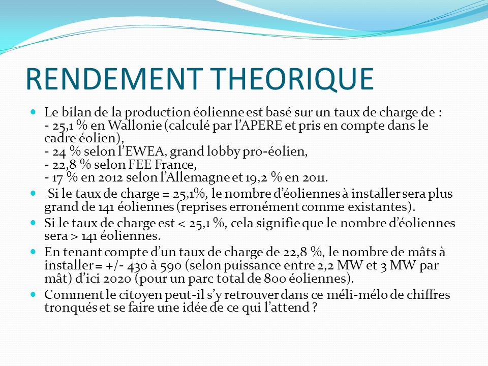 RENDEMENT THEORIQUE