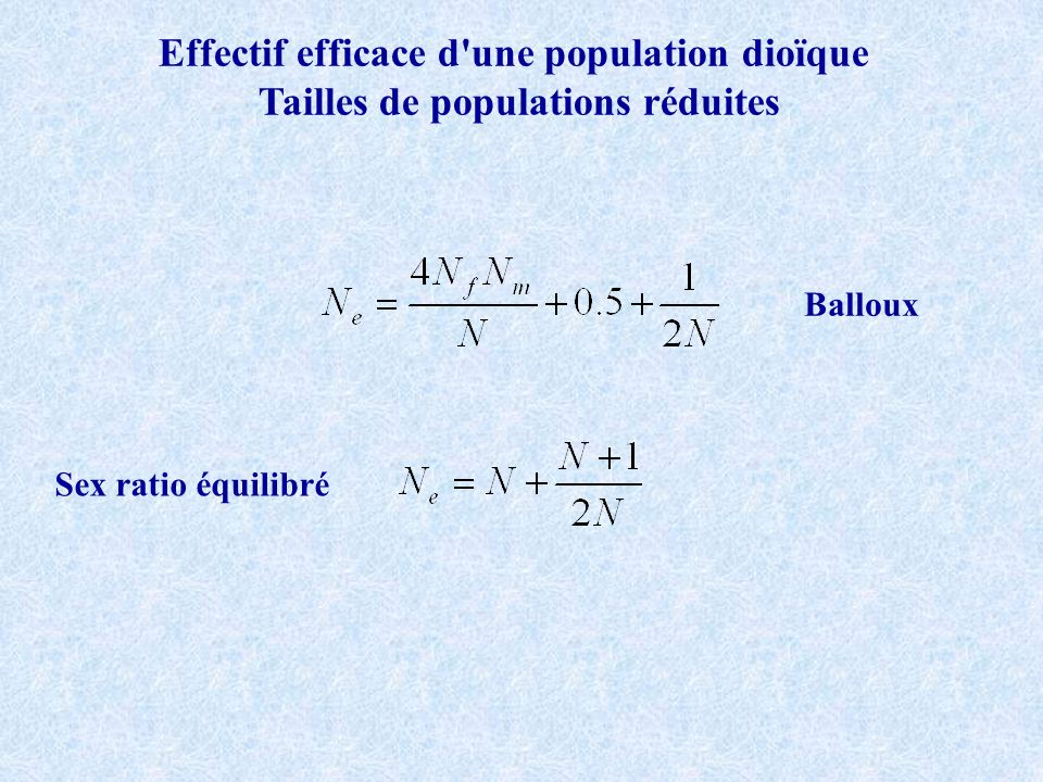 Effectif efficace d une population dioïque