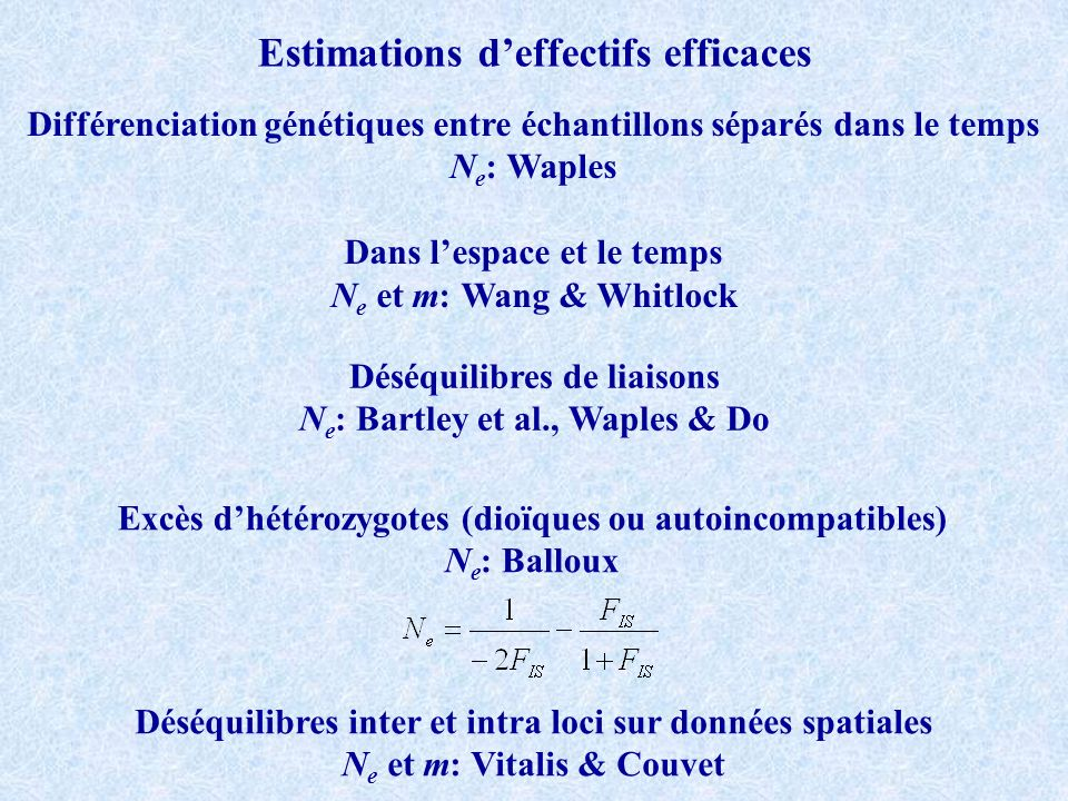 Estimations d'effectifs efficaces