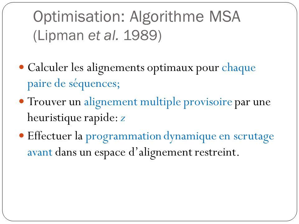 Optimisation: Algorithme MSA (Lipman et al. 1989)
