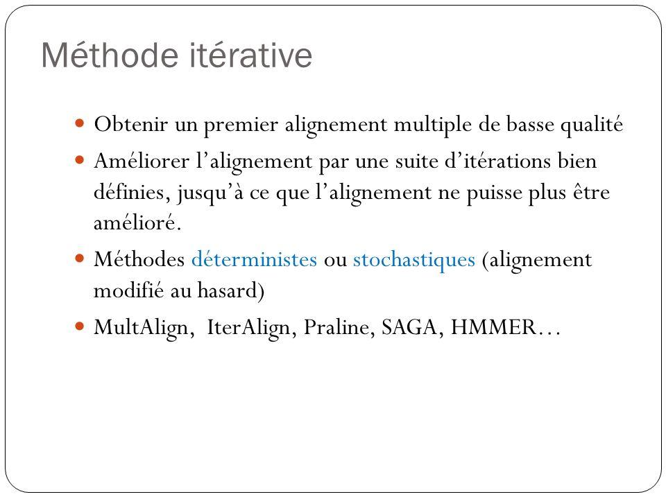 Méthode itérative Obtenir un premier alignement multiple de basse qualité.